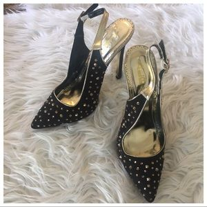 ALBA black and gold rhinestone heels